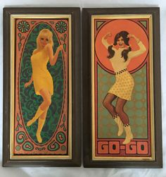 1967 Paul Detlefsen Go-Go Girls - Original Framed Cardboard Prints - Groovy & Very RARE - Set of 2 Prints by VirgoAgogo on Etsy