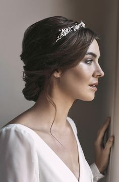 Fleur Delicate Silver Bridal Crown Tania Maras - The Fleur Silver Bridal Crown Was Designed For Wedding Gowns Of Refined Sophistication Think Ladylike Cap Sleeves Classic Silhouettes Modern And Sheer Floaty Gowns And Dresses With A Subtle Boho Vi Bridal Hair Updo, Headpiece Wedding, Wedding Hair And Makeup, Bride Makeup, Romantic Hairstyles, Bride Hairstyles, Short Hairstyles, Crown Hairstyles, Pretty Hairstyles