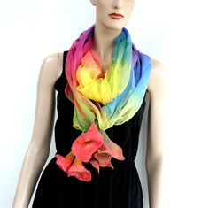 Nuno Felted Shawl, Silk wool scarf - hand-felted and hand painted  colorful scarf, flowers scarf by MajorLaura on Etsy