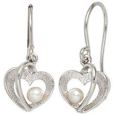 Wunderschöne Herz-Ohrringe: Ohrhänger aus Silber Herz, mit je einer Perle, teileismatt