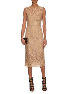 Dolce & Gabbana Floral-lace sleeveless midi dress