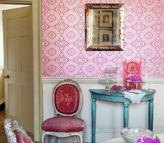 Pattern Play~ Wallpaper can change your life. Sounds dramatic? Not as dramatic as hanging a paper in a shocking magenta medallion print.