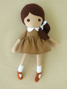 Fabric Doll Rag Doll Brown Haired Girl in Brown and by rovingovine
