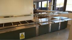 Cafeteria Design, Commercial Kitchen Design, Commercial Catering Equipment, Stainless Steel Kitchen, Schools, Counter, Furniture, Projects, Home Decor