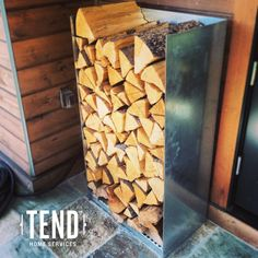 Where to stack firewood? How about a bin?