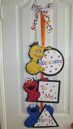 Sesame Street  Party Birthday Door Sign.