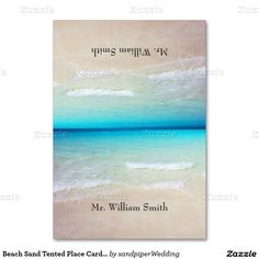 Ocean and beach sand tented place cards with name template.