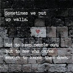 Even worse... when someone attempts to knock them down... I find myself wondering why... and then I'm on the other side putting up every brick again.  Vicious circle of mistrust