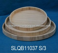 unfinished round wooden trays