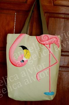 Items similar to Fuschia Flamingo Hand Painted Art Tote Bag Philippines New on Etsy Painted Bags, Hand Painted, Tout Rose, Tote Bags Handmade, Pink Bird, Hand Painting Art, Fabric Bags, Pink Flamingos, Purses And Bags