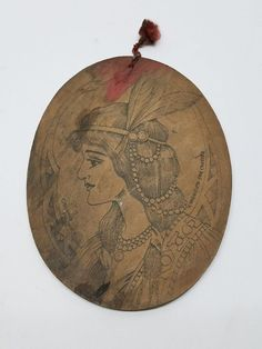 Antique Flemish Art Wood Burning Pyrography Plate Folk Art Victorian Lady Girl #FlemishArtCompany