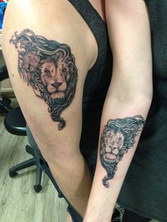 """Done at Ikonic Ink in State College, PA by Adam Zimmer.  """"A tattoo shared with the first person that gave me the courage to come out of the closet to them, becoming my secret keeper, holding the key to my lock. And the lions to represent the loyalty, honor, and courage to fill the rest of out lives with."""""""
