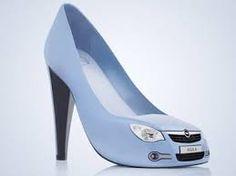unique high heels shaped blue car<3