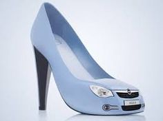 unique high heels shaped blue car<3