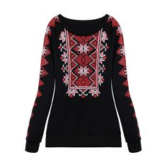 Sale 19% (13.99$) - Women Print Thick Warm Pullover Casual  Long Sleeve Sweatshirt