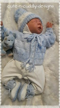 Reborn and Baby Knitwear for sale, also knitting patterns for babies and dolls clothing Baby Cardigan Knitting Pattern Free, Baby Boy Knitting Patterns, Baby Patterns, Doll Patterns, Reborn Dolls, Reborn Babies, Baby Dolls, Knitted Baby Clothes, Doll Clothes