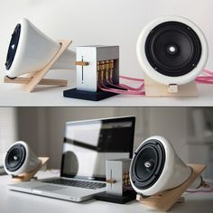 """Ceramic Speakers by Joey Roth. Simplistic design. Custom made drivers. Made to reveal every nuance of the music they play. 15w per speaker 
