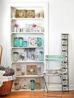 Storage doesn't have to be hidden away! An open bookshelf is perfect for displaying eye-catching collections: http://www.bhg.com/home-improvement/advice/expert-advice/remodel-to-add-storage-/?socsrc=bhgpin112014usestorageasdisplay&page=9