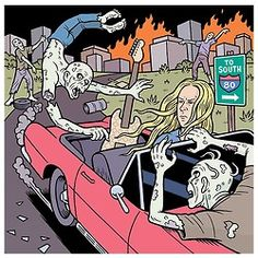 Guitar World: Zombie Apocalypse!  Four illustrations by Danny Hellman for Guitar World magazine. GW asks four rock guitarists, (Brett Hinds, Jerry Cantrell, Lenny Kravitz and Mick Mars) what they plan to do when the Zombie Apocalypse arrives, (art direction by Alexis Cook).