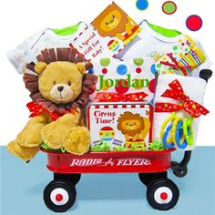 This Day at the Circus Baby gift basket is a great way to welcome the new baby into the world.