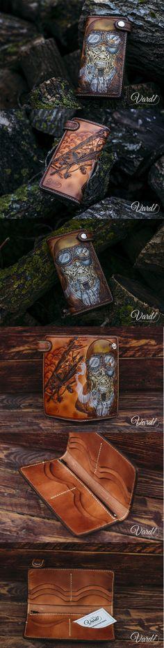 Handcrafted leather wallet, zombie pilot.  Vardi Craft  Handmade men long emboss leather wallet men vintage brown gray long wallet