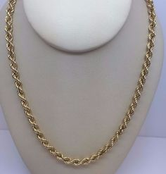 """14K YELLOW GOLD SEMI SOLID ROPE CHAIN 4.1 MM 18"""" #Chain"""