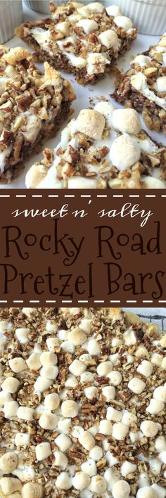 These sweet n' salty rocky road pretzel bars have a crumbly pretzel crust, topped with condensed milk, and then layered with mini marshmallows, pecans and chocolate! They are the best sweet and salty dessert.