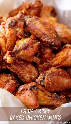 Extra crispy baked chicken wings that are tender and juicy on the inside. They are like deep-fried wings, only healthier and without a mess and added calories. The best baked chicken wings period. Best Baked Chicken Wings, Crispy Chicken Wings, Crispy Baked Wings, Oven Baked Wings, Chiken Wings, Chicken Breasts, Baked Fried Chicken, Frozen Chicken Wings, Chicken Wing Sauces