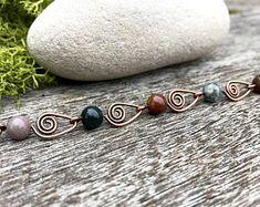 Wire Wrapped Gemstone Bracelet ~ Arrowhead Bracelet ~ Copper Bracelet ~ Boho Bracelet ~ Indian Agate Bracelet ~ Woodland Bracelet