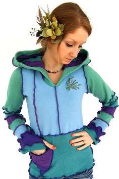 Lila blaue und grüne Pixie Hoodie  wolle Fairy von Fairytea auf Etsy