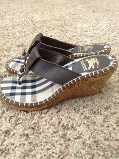 A great classic brand in fashion, Burberry.. for only $50.00!! Burberry Brown Leather Nova Check Espadrille Wedge Thong Sandals