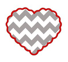 Scalloped Heart Love Valentine Applique. INSTANT by DChaseDesigns, £2.50