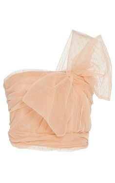 Shop One Shoulder Point D'Esprit And Tulle Top. This **Red Valentino** features a one-shoulder neckline with oversized bow detail on bodice and a ruched hemline. Bow Crop Tops, Pink Crop Top, Pink Tops, Cropped Tops, One Shoulder Shirt, Off One Shoulder Tops, Stage Outfits, Mode Outfits, Cl Fashion