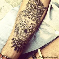 Owl Skull Tattoo Idea