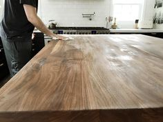 How We Refinished our Butcher block Countertop - Chris Loves Julia Butcher Block Countertops Kitchen, Hardwood Countertops, Walnut Countertop, Glass Countertops, Kitchen Cabinets, Laminate Flooring, Kitchen Appliances, Kitchen Sink Design, Kitchen Redo