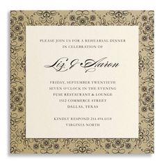 This boutique wedding invitation will charm your guests with its look of graceful luxury. Metallic gold paper is decorated with an ornate black damask pattern and topped with a square cream card that is printed with your custom text. It's sized a bit smaller than traditional wedding invites, making it an excellent choice for a bridal shower or rehearsal dinner, or as a save-the-date announcement.