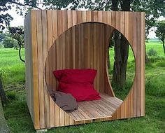 bigger, for dining outside; put round screen door on front, staple screen to other openings