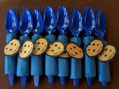 Cookie Monster Party Cutlery with Cake Topper by SoMuchToCelebrate, $12.00