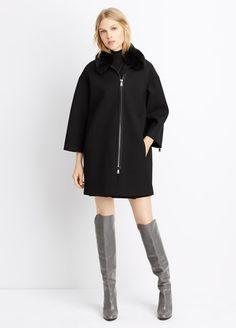 Fur Collar Bonded Calvary Coat