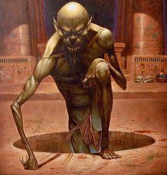 """O ghoul (do inglês, pronunciado """"gul"""") é um monstro folclórico associado com cemitérios e que consome carne humana, comumente classificado como morto-vivo. Na mitologia árabe (na língua árabe, literalmente, significa demônio), sua origem, é um monstro canibal que habita debaixo da terra e outros lugares desabitados. O nome de origem da criatura é الغول (ghūl), significando demônio. O ghoul é uma espécie de gênio diabólico árabe que muda de forma."""