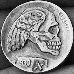 John Carter - Skull with Wings Hobo Nickel, Skeletons, Skulls, Buffalo, Coins, Rooms, Water Buffalo, Skeleton