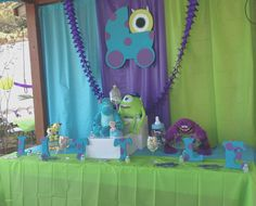 Monsters Inc Baby Shower One of two dessert tables. - Monsters Inc Baby Shower One of two dessert tables. Monster Inc Party, Monster Inc Birthday, Monster 1st Birthdays, Monsters Inc Baby Shower, Monster Baby Showers, Party Monsters, Baby Shower Parties, Baby Shower Themes, Baby Boy Shower