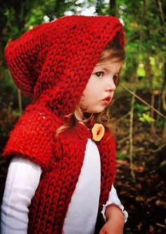 Hooded Sweater Red Baby Toddler Children Festival Clothing Eco Friendly Hoodie Boho Hand Knit Hobbit Elvin