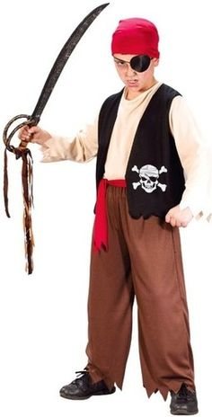 Boys Pirate Costume SHIP Captain Buccaneer Caribbean Outfit Sailor Kids Childs | eBay