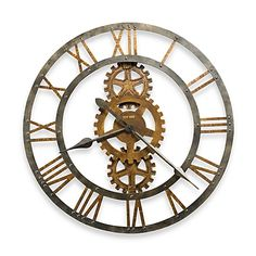 Howard Miller Crosby Industrial, Steampunk, Vintage with a Modern Twist, Statement Wall Clock, Reloj De Pared (Metal (Grey) Finish) (Glass) Gear Clock, Howard Miller, Wall Clock Design, Statement Wall, Dining Room Walls, Warm Grey, Home And Deco, Messing, Metallica