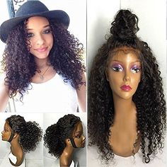 Freyja Hair 8A Unprocessed Fashion Ponytail Deep Curly Glueless Full Lace Wigs for Black Women Virgin Hair Lace Front Wigs with Baby Hair(lace front wig,22 inch)