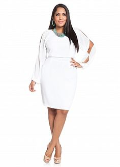 Ashley Stewart: Pique Chiffon Dress