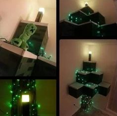 DIY Minecraft Christmas tree - for the boys' room