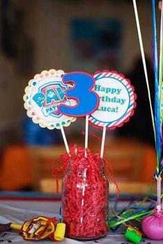 Items similar to New Paw Patrol Centerpiece on Etsy Paw Patrol Centerpiece, Paw Patrol Decorations, Mickey Birthday, 4th Birthday Parties, 3rd Birthday, Birthday Ideas, Paw Patrol Party, Paw Patrol Birthday, Deco Table