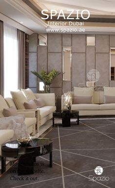 Modern men's formal majlis in gray colors with mirrors and light sofas. Luxury majlis interior design is made by Spazio Interior Decoration in Dubai Interior Design Dubai, Luxury Homes Interior, Luxury Decor, Modern Interior Design, Interior Design Living Room, Living Room Designs, Interior Decorating, Living Room Modern, Living Rooms
